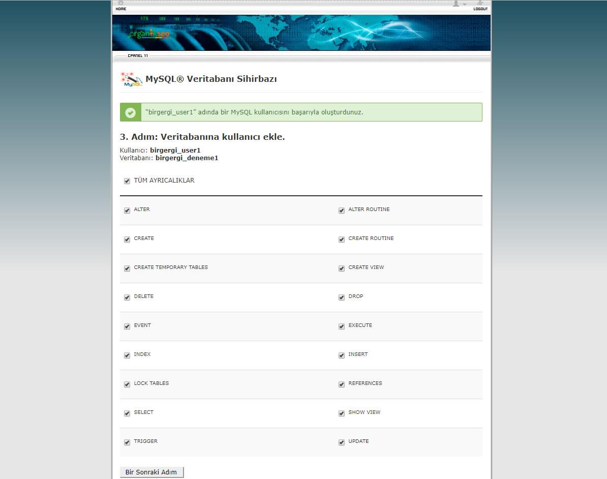 Mysql veritabanı sihirbazı tüm izinleri verip